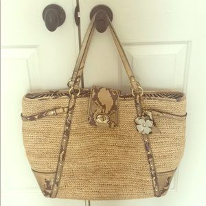 Coach straw and snakeskin tote